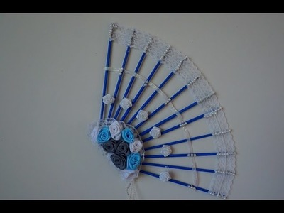 Decorative Fan From Newspaper And Cardboard