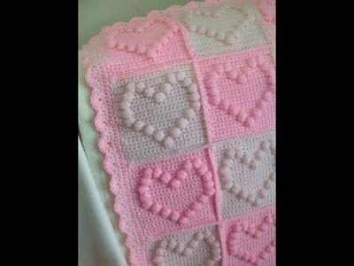 DIY tutorial - bobble stitch heart square - crochet - bubble heart square - English