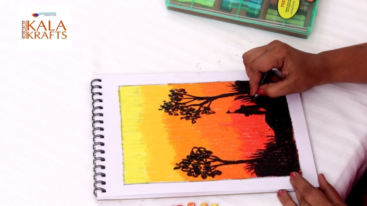 Easy Step By Step Silhouette Painting Tutorial - Paint a Mountain Sunset - Kala Krafts