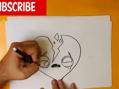 HOW TO DRAW A BROKEN HEART CUTE, Easy step by step drawing lessons for kids