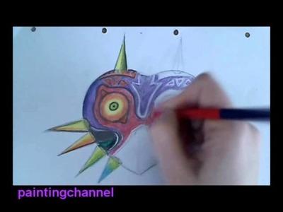 How to draw Majora's Mask - Legend of Zelda