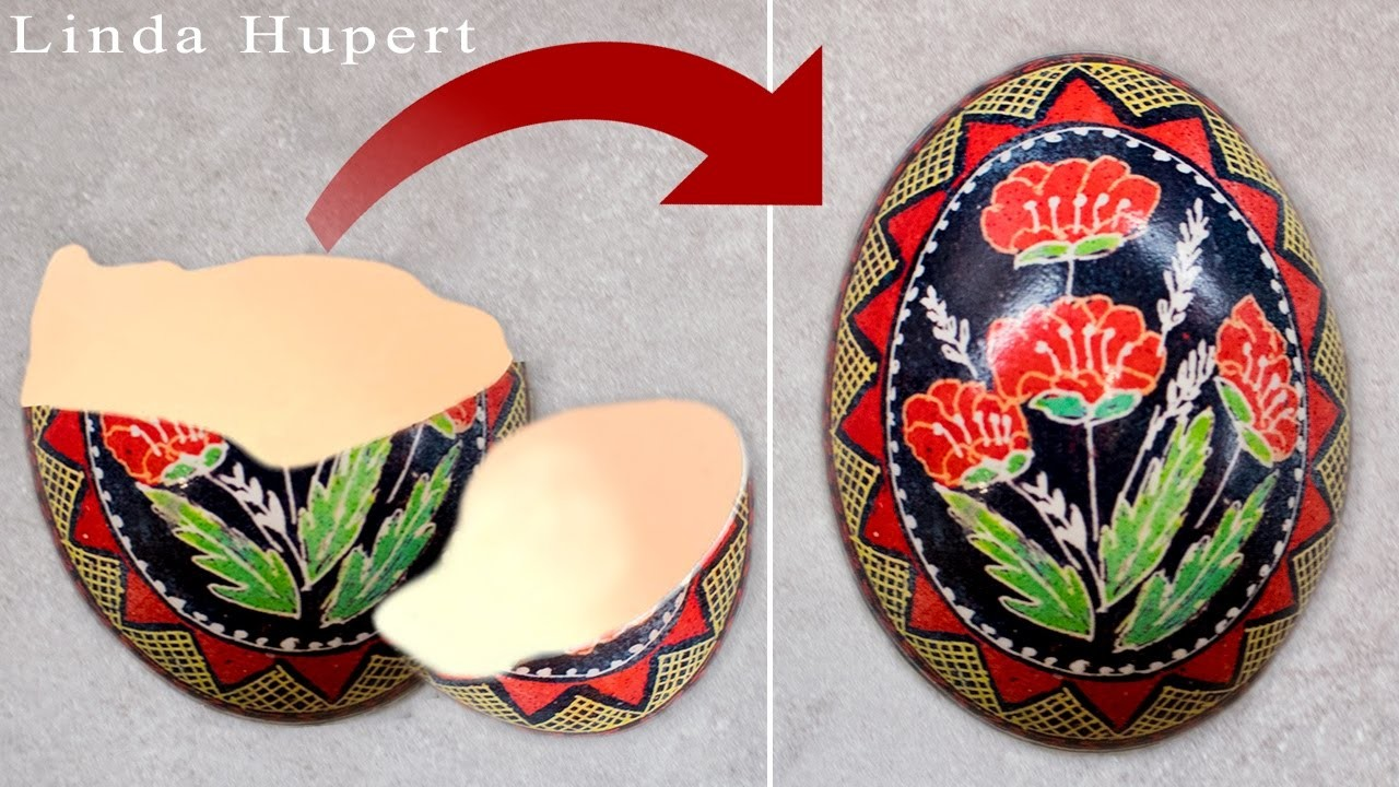 How to Fix a Cracked Broken Eggshell back into a Full Egg - DIY Tutorial by Linda Hupert