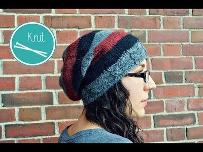 How to Knit - Owl Ribbed Slouchy Beanie Tutorial