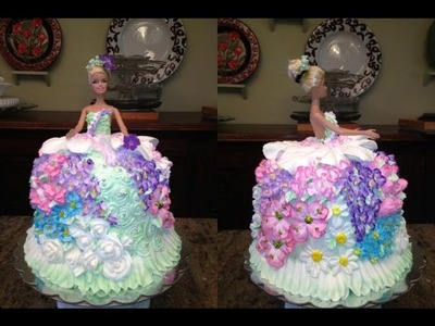 How To Make A Barbie Doll.Princess Cake And Decorat It With Flowers