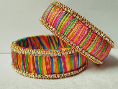 How To Make Designer Bangles. Multi Color Silk Thread Bangle Making Tutorial