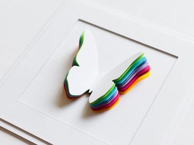 How to make : Greeting Card with Rainbow Butterfly | Kartka z Tęczowym Motylem - Mishellka #231 DIY