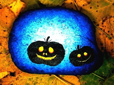 How to paint pumpkin on rock -- EASY and SPEED acrylic painting