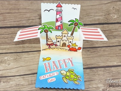 Lawn Fawn Lighthouse Scalloped Box Card Pop-Up for Dad