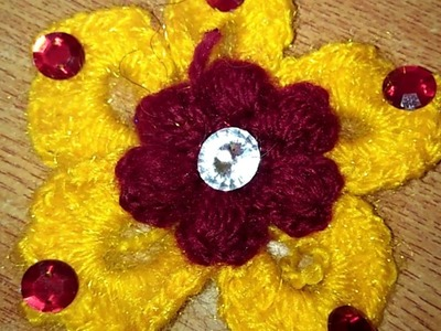 Make puff stitch flowers through kroshiya work for your sweaters, cardigan designs, baby boots # 4