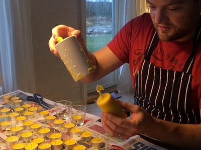 Making Beeswax candles for the first time