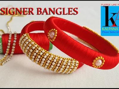 Making of designer silk thread bangles - one side reflect model silk thread bangles tutorials