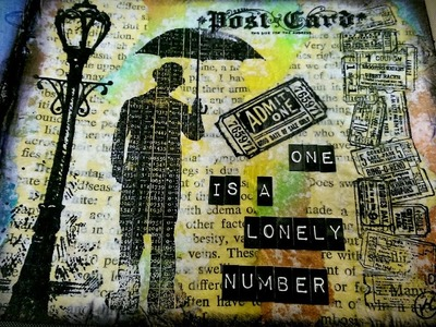 Mixed Media Process Journal Page #26 - One is a Lonely Number