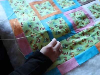"""Quilting: How to tie a quilt using the """"Hidden Tie"""" or """"International Stitch"""""""