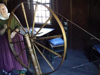 Spinning on a Great Wheel at Colonial Daggett Farm