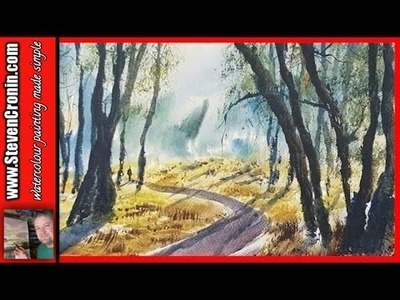Watercolour painting tutorial using a photograph of Sutton Park
