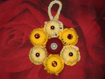 Woollen flower Wall hanging  easy make
