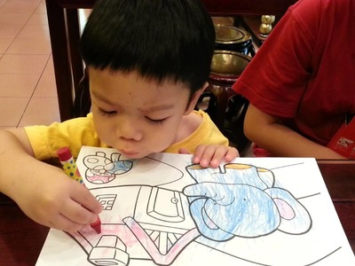 2 1.2 year old Toddler Colouring with Crayons