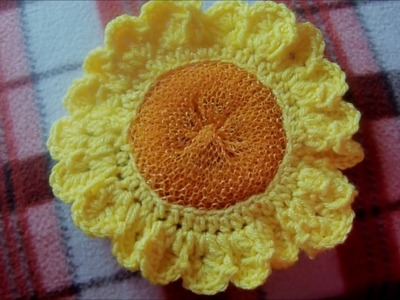 Crochet Sunflower Scrubbie
