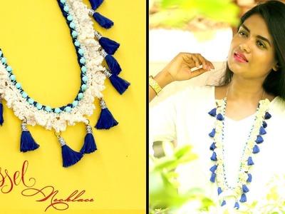 DIY Crochet Tassel  Statement Necklace    PART 1    Sowbaraniya Ramesh