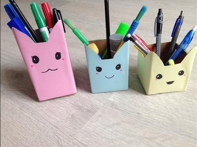 Diy desk organizing pen pencil holder | best out of waste | how to make pen holder easily