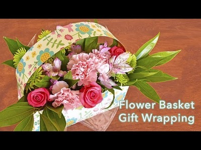 DIY Flower Basket Gift Wrapping using Reversible Paper