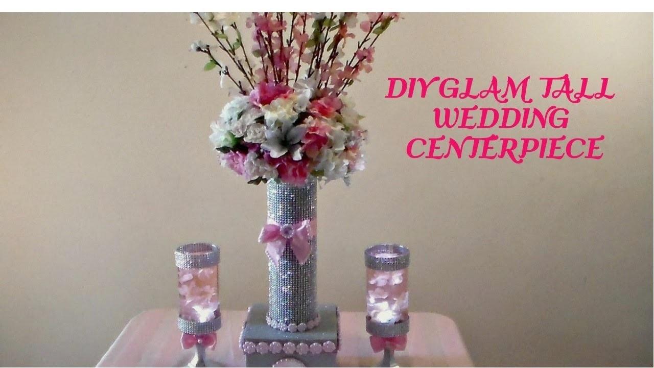 Diy glam tall wedding centerpiece