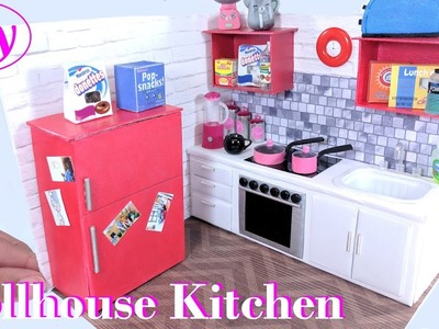 DIY Miniature Dollhouse Kitchen - with Fridge, Oven, & More