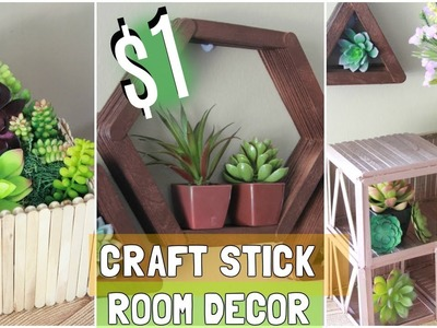 DOLLAR TREE $1 CRAFT STICK ROOM DECOR IDEAS D.I.Y