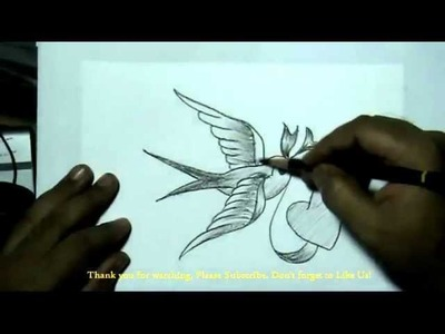 How to Draw a Bird Carrying Heart