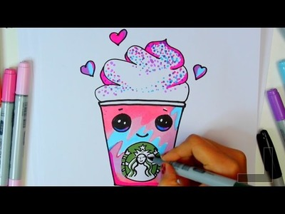 How to draw a starbucks unicorn frap cartoon -  Frappuccino Cute step by step Cartoon Drink diy