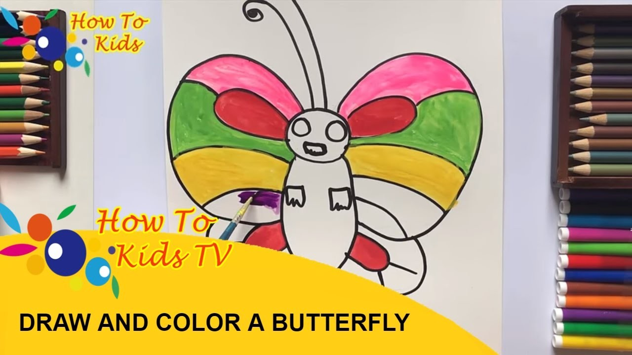 How To Draw and Paint A COLOFUL BUTTERFLY with Water Color Teaching Drawing for Kids