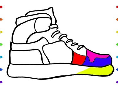 How to Draw Sneaker   Coloring Pages, Kit for Creativity: Paints, Brushes and Pencils