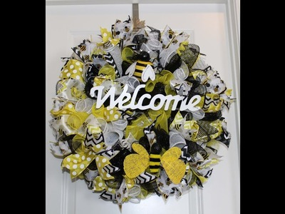 How to make a curly deco mesh bee welcome wreath perfect for summer