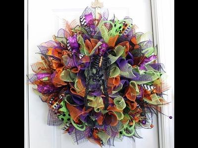 How to make a deco mesh sunburst wreath Halloween style
