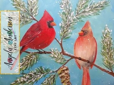 How to Paint a Cardinal Acrylic Painting Tutorial | Live Full Length Free Lesson | Angelooney