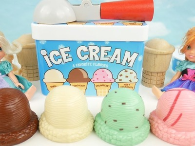 Ice Cream Playset Cones Toys For Kids Learn Colors with Frozen Anna and Elsa Toddlers Learning Video
