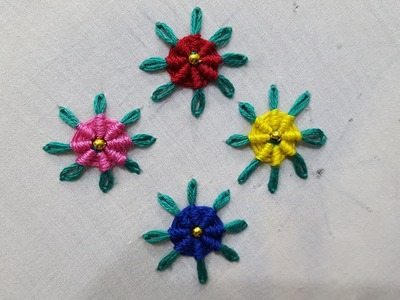 Lazy daisy spider stitch hand embroidery for begginers