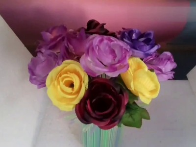 ✔????Make flower pot use of waste material || flower bouquet Best out of waste | decorative ideas