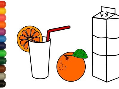 Orange Juice Coloring Pages How to Color with Colored Markers for Toddlers