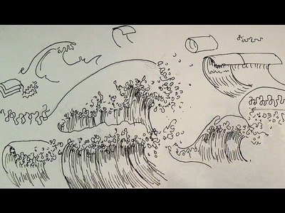Pen & Ink Drawing Tutorials | How to draw ocean waves of a seascape