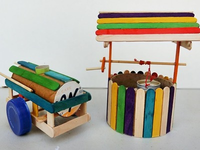 Popsicle stick Crafts - Well and Water Barrel