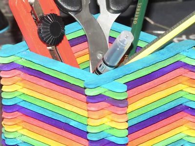 Rainbows Stationery Basket Made With Ice Cream Stick - Stationery Handmade