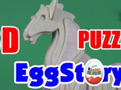 SUPER 3D PUZZLE! HOW TO MAKE A WOODEN HORSE! FOR KIDS!