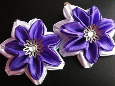 The decoration on the hairpin kanzashi. White - purple flowers. Two assembly options