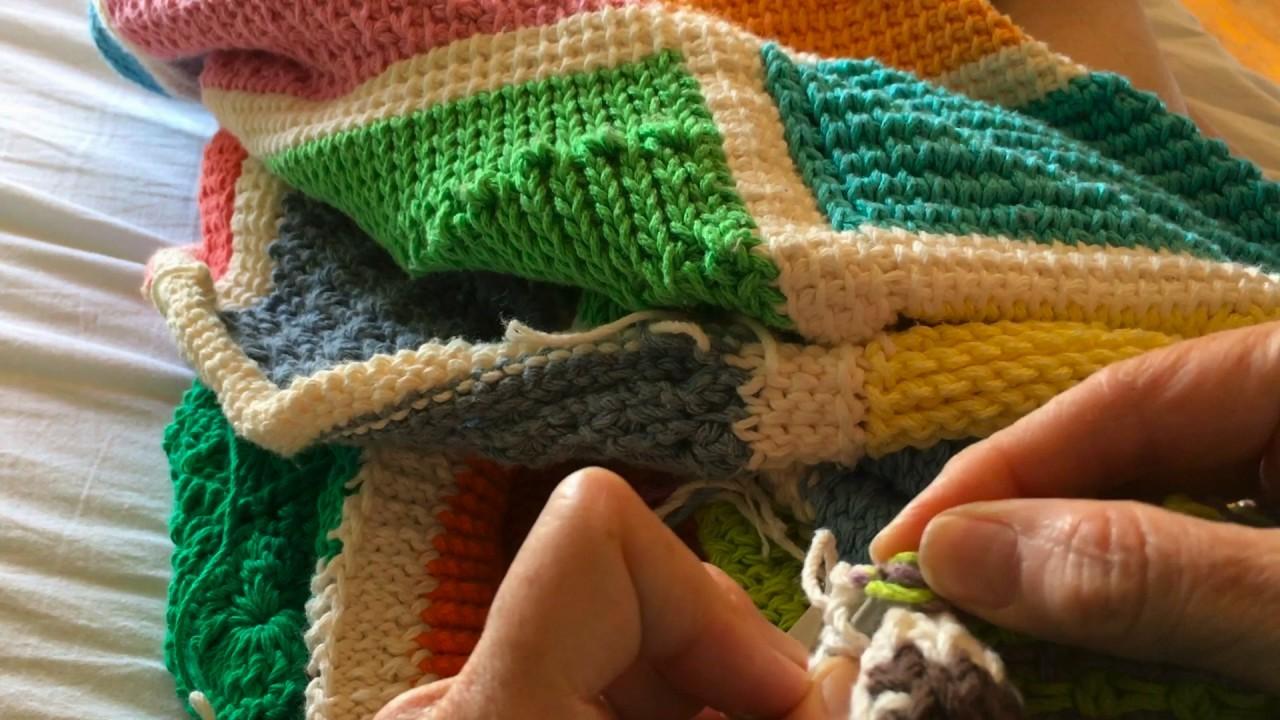 Tunisian Crochet Afghan Sampler Block 44 Bicolor Squares Left Hand