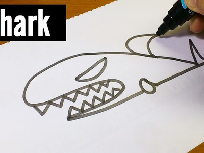 """Very Easy !  How to Draw Cute Doodle Using Letters """"SHARK"""" for kids!  Let's Learn drawing"""