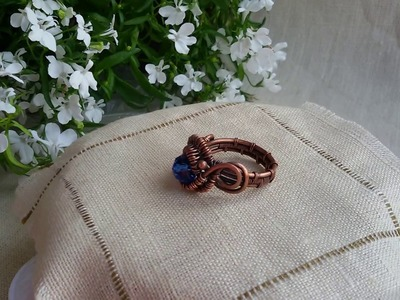 Wire wrapped copper Ring Glass Beads