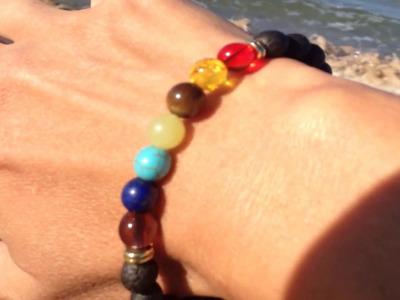 Beautiful Chakra-Balancing Diffuser Bracelet with Lava Stone Beads