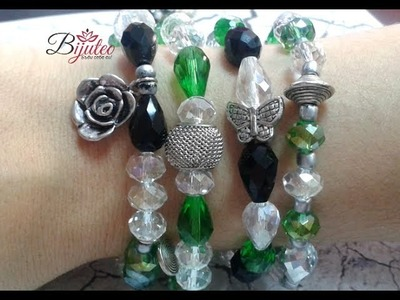 Beautiful stretchy bracelet with charms - tutorial