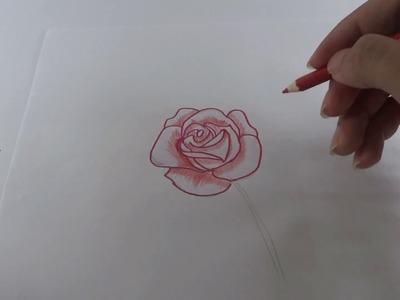 How to draw 3D flower. cara gambar bunga mawar